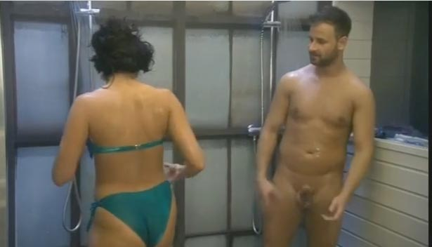 big brother Hungary Dennis hard in shower