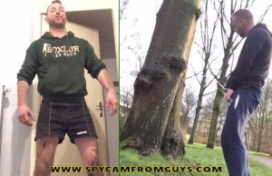 rugby guy showing off and pissing