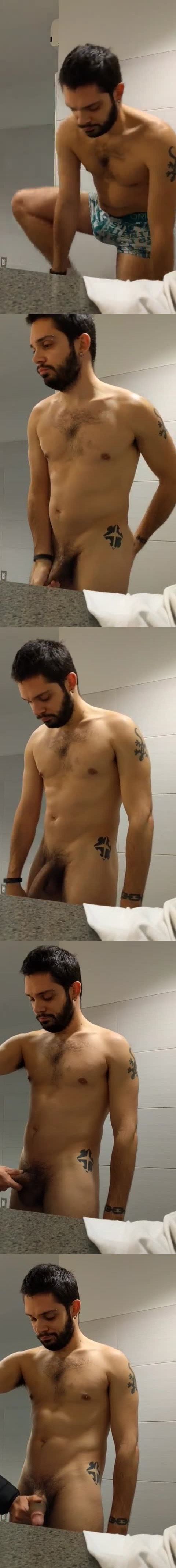 touching big dick gym toilet