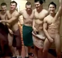 naked guys having fun sauna