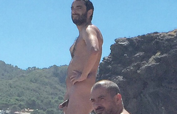 nudist bearded man caught beach