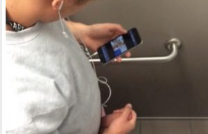 young dude caught masturbating public toilet spycam above stall