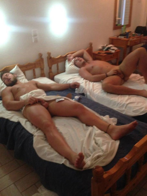 two guys sleeping naked touching dicks
