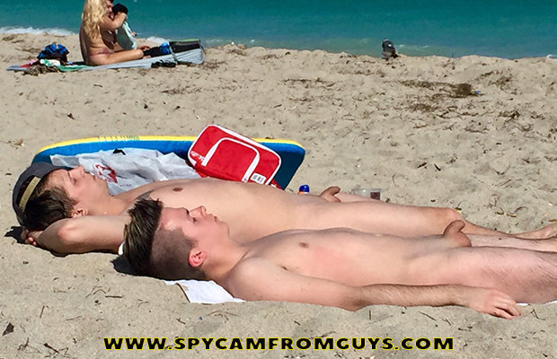 nudist guys caught at the beach
