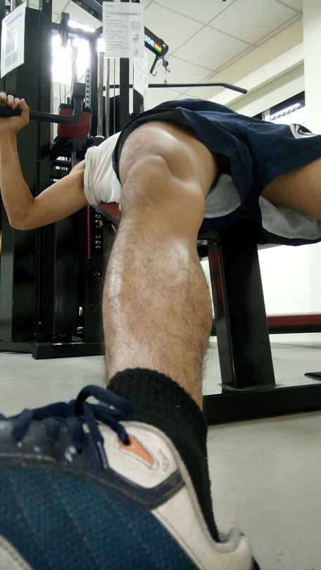 Cock up shorts at gym