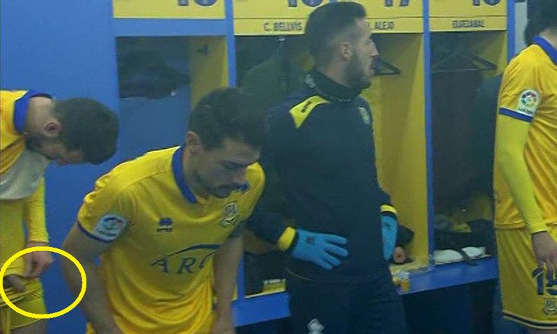 spanish footballer alcorcon dick lockerroom