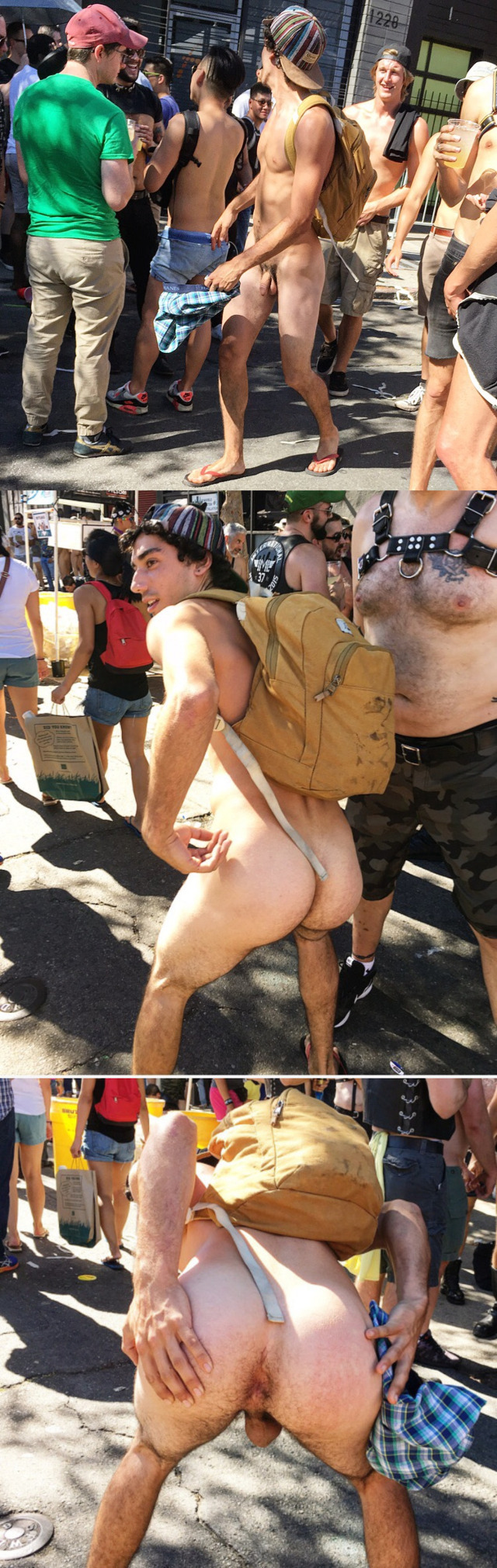 Guy showing his ass hole during WNBR