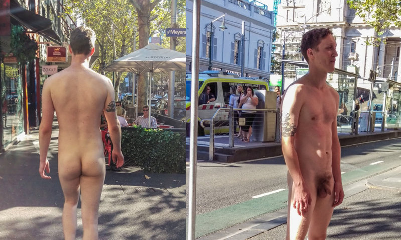 guy walking naked in the city