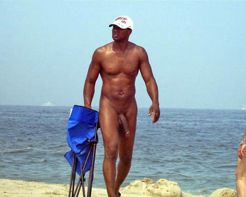 Finally a black nudist man at the beach
