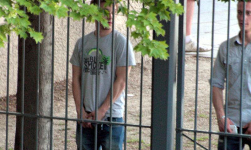 men caught peeing public