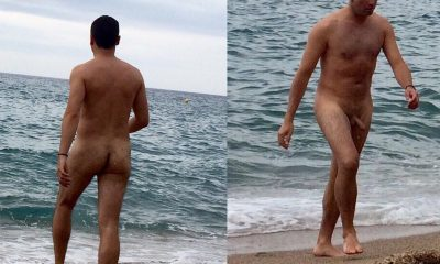 nudist man caught over the beach