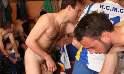 rugby players naked locker room after game