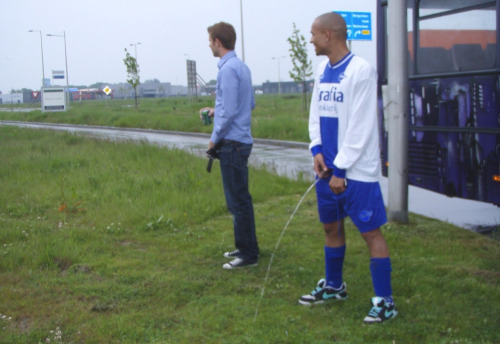 Peeing on a football pitch sorry, that