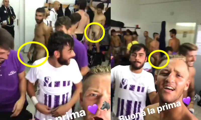 italian footballers naked lockerroom celebration