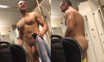 nude hung man in lockerroom