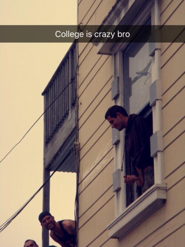 College guys jerking off in public