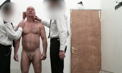 Beefy guy wanking in jail