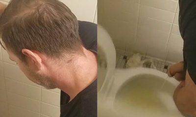 Mens bathroom peephole pissing