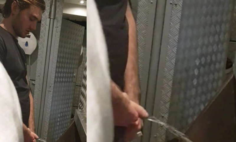 guy with nice uncut dick caught peeing urinal