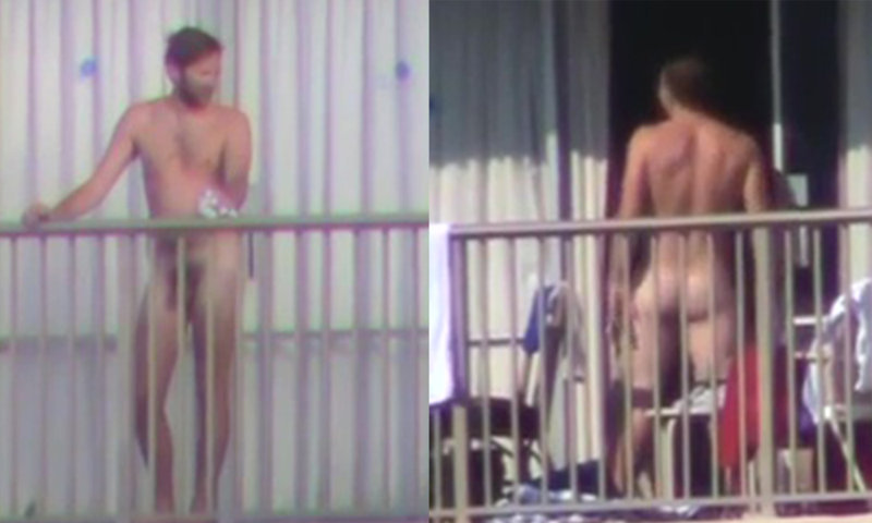 men caught completely naked on the balcony