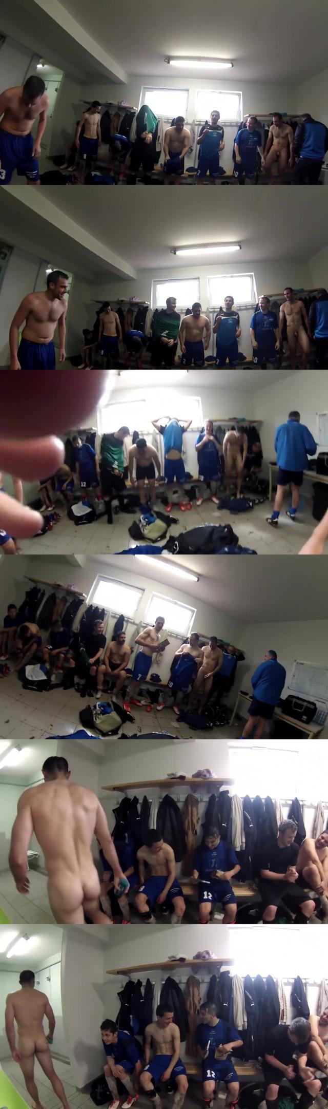 footballers naked in locker room