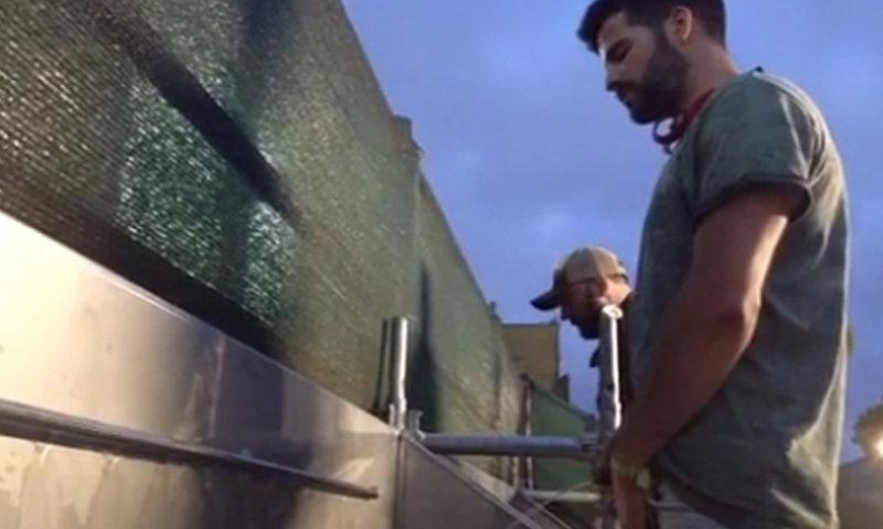 guys caught peeing outdoor urinals festival