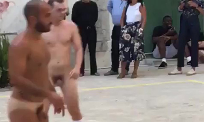 naked football match in a square