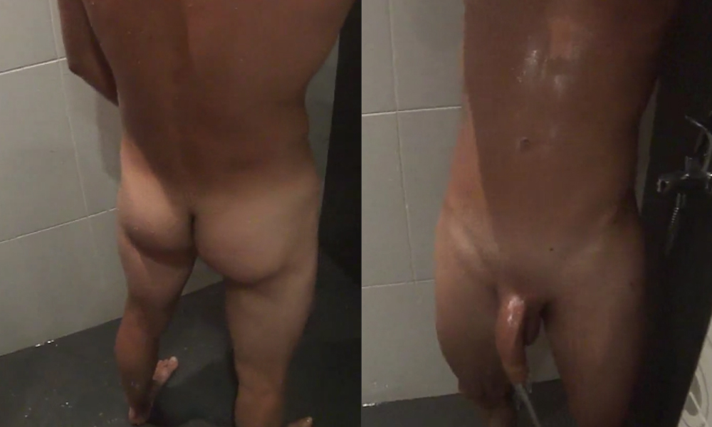 roomie taking video at naked friend in shower