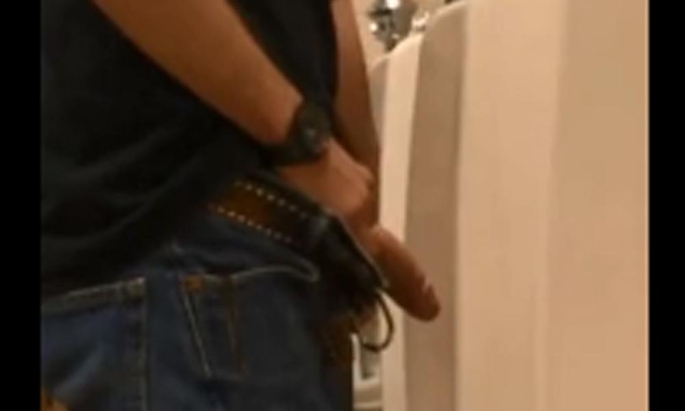 spycam video huge dick caught peeing urinal