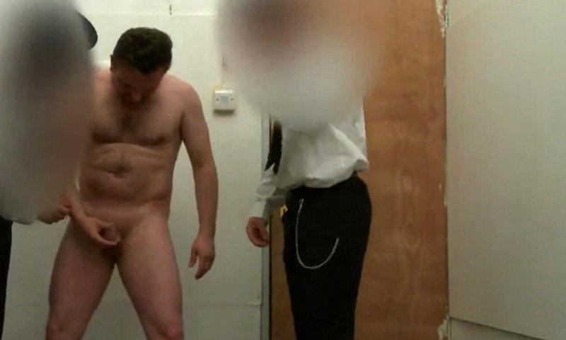 naked criminal man body search