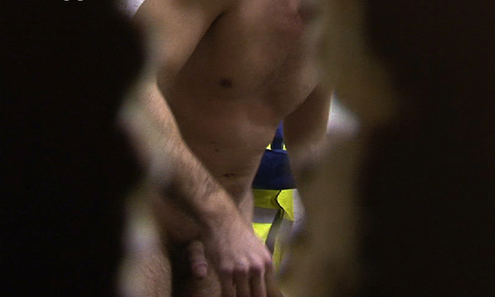 workman caught naked changing room