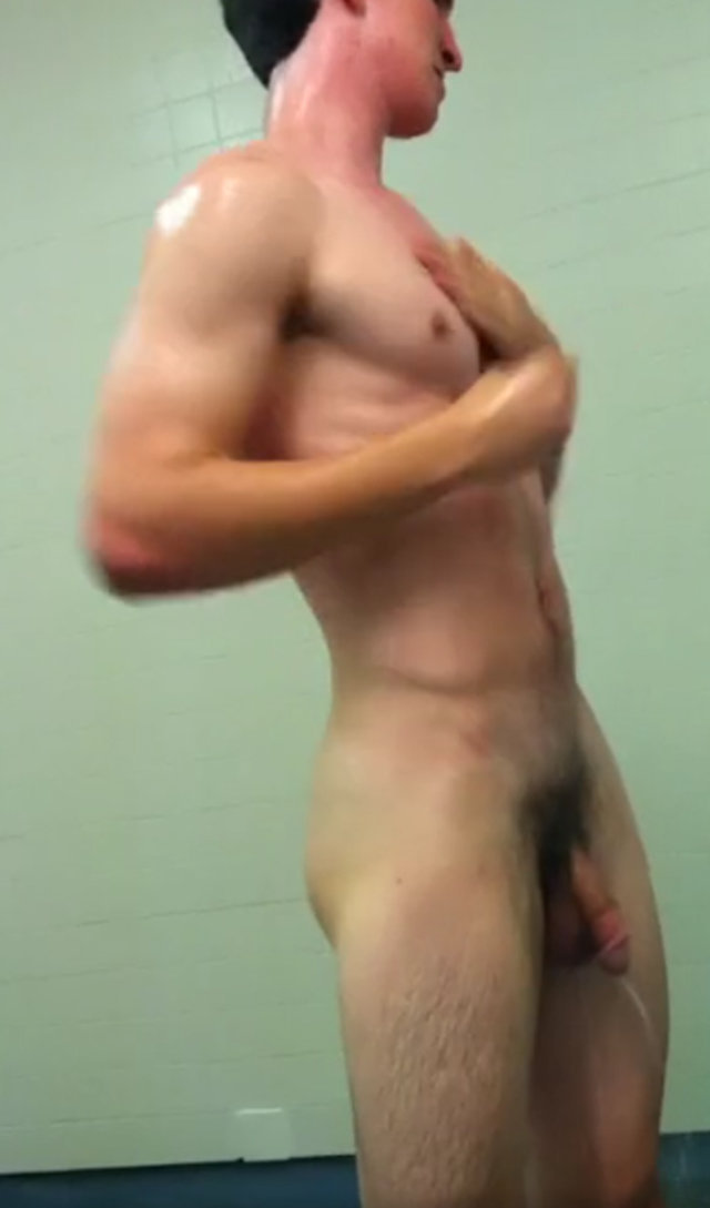 big dick guy caught naked gym open shower