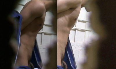hot guy caught naked in gym locker room by a spycam