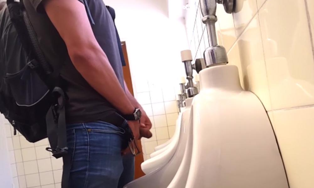guys caught peeing urinals