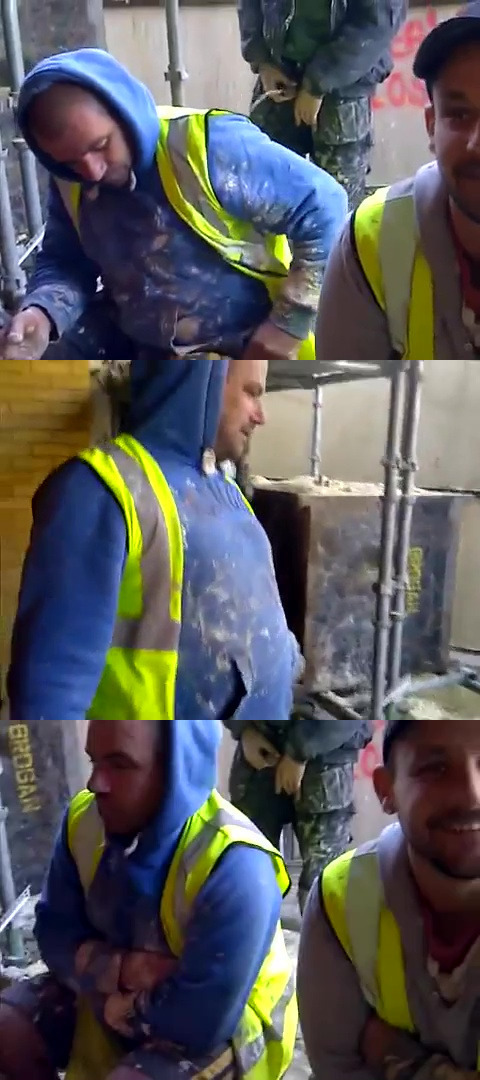 construction worker piss on friend