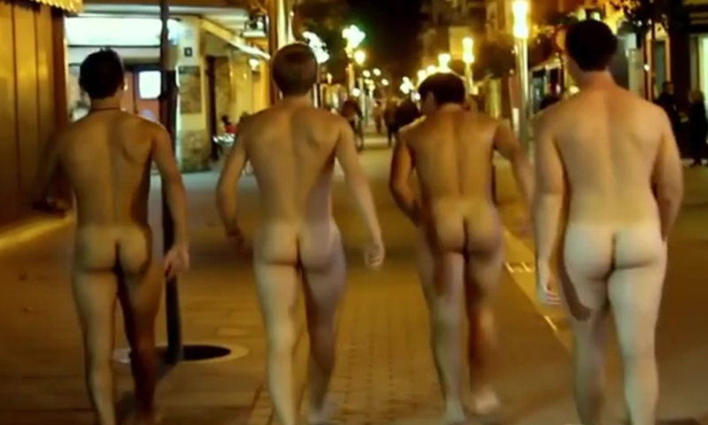 four straight guys naked in the street at night