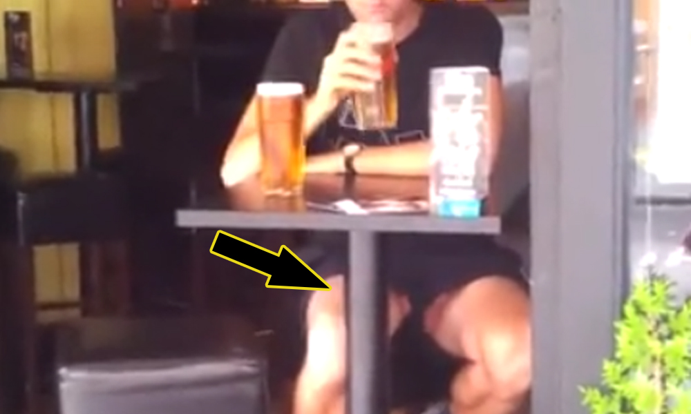 guy dick slip at the bar
