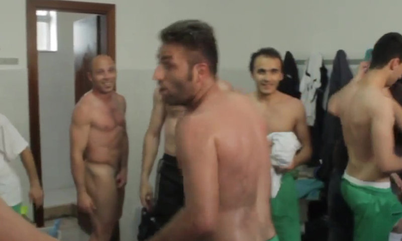 naked football club celebration locker room
