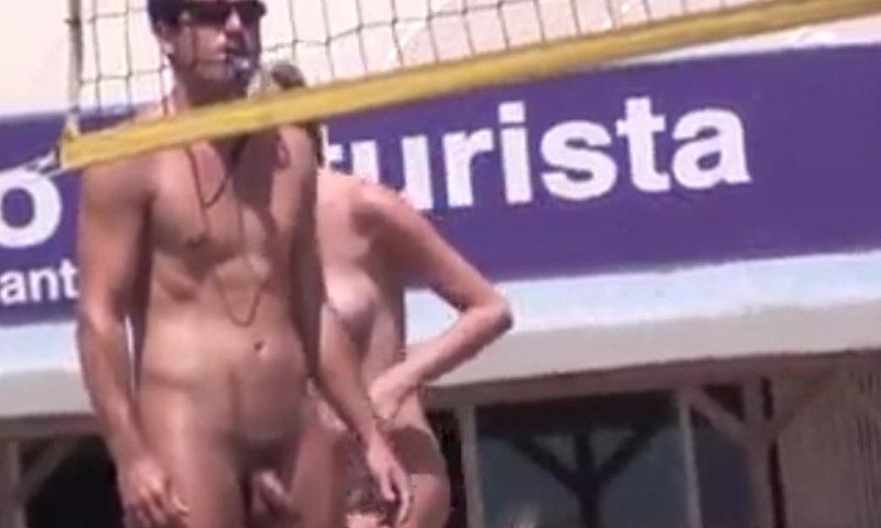 nudist man caught beach volley match