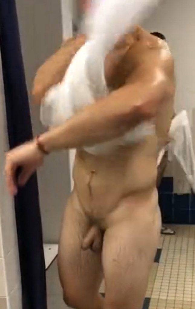 muscled stud with hairy dick caught naked gym locker room