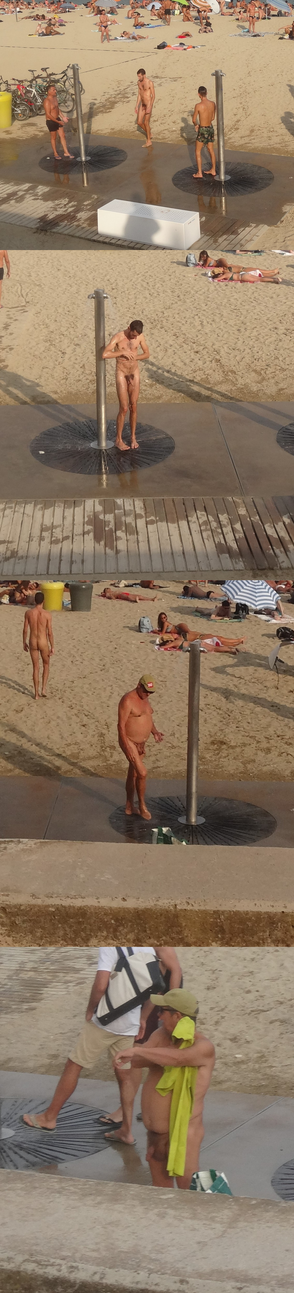 nudist guys taking a shower at the beach