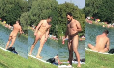 nudist men caught at the lake beach