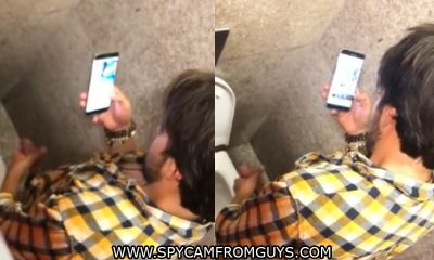 dude caught jerking in public toilet