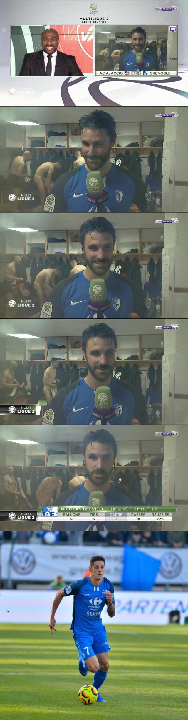 footballer florian sotoca caught naked locker room during interview