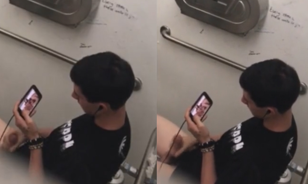 guy caught jerking in public toilet