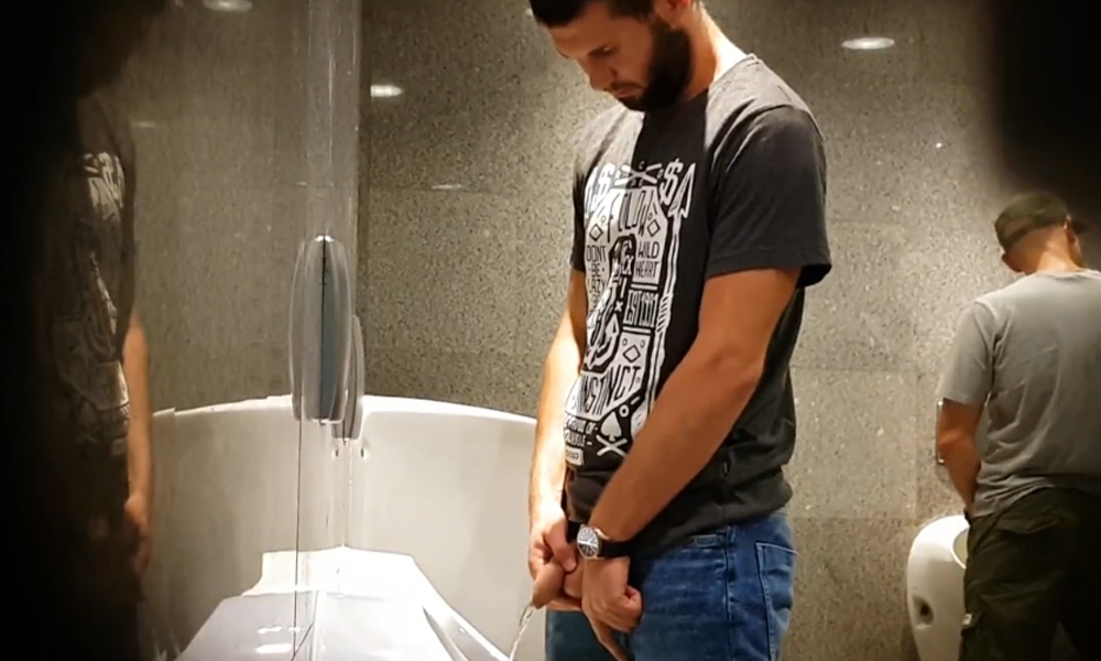 bearded uncut dude caught peeing at urinal by spycam