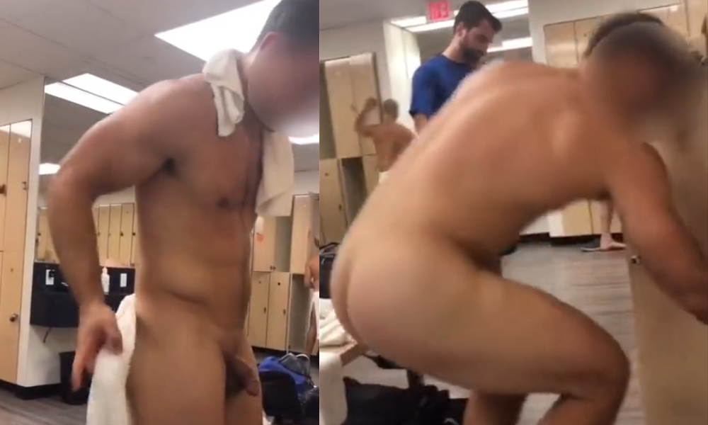 muscle guy caught naked gym locker room