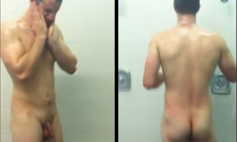sexy college guy caught by spycam in shower