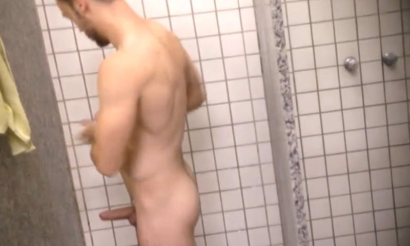 man caught with hard dick in gym shower