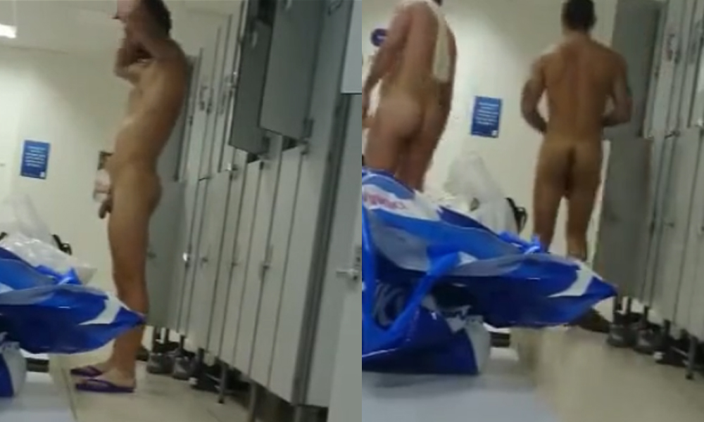 hairy men caught naked in gym locker room by a spycam